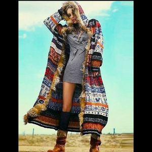 Aztec hooded fur cardigan/jacket